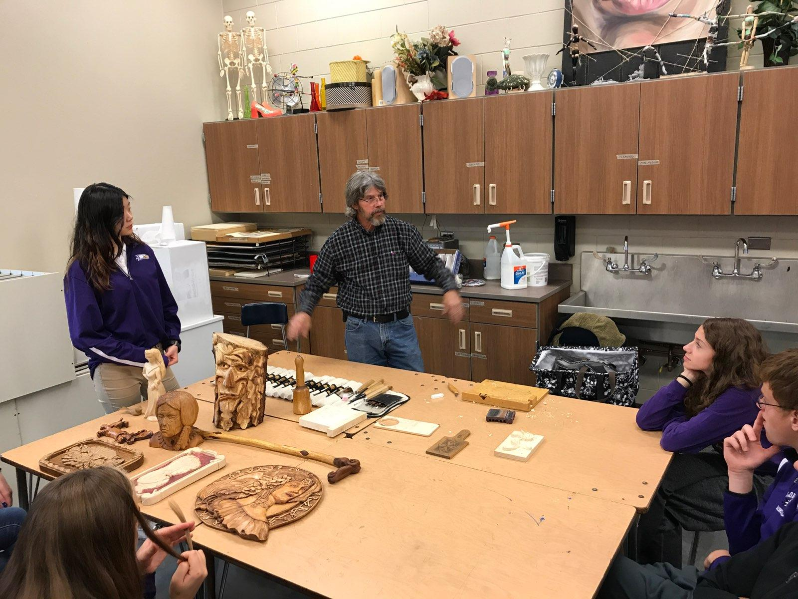 Tom Sursely; Local Wood Carver Visits LHS Sculpture Class